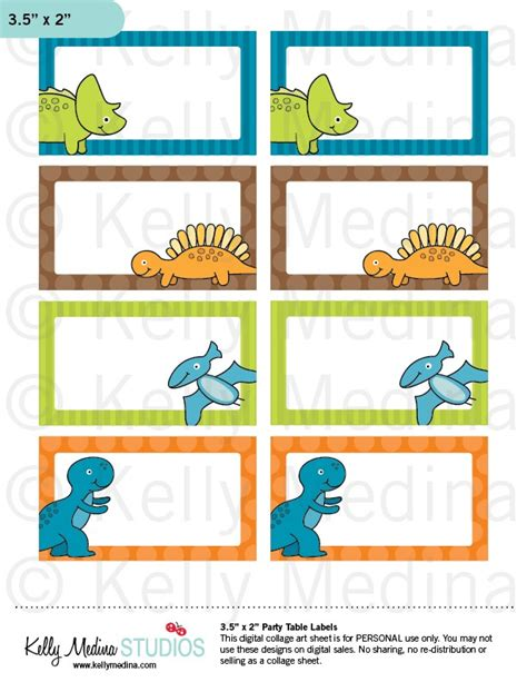 printable table label dinosaurs printable labels personal use table gift