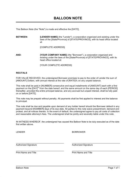 balloon note template sle form biztree
