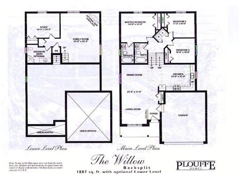 front back split level house plans design backsplit