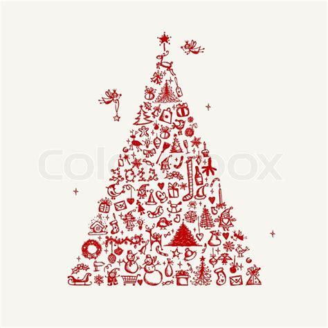 designer weihnachtsbaum weihnachtsbaum skizze f 252 r ihr design stock vektor