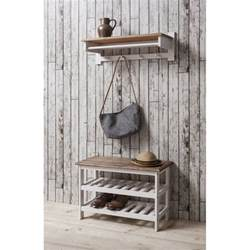 Shoe Storage Unit With Coat Rack In White Amp Dark Pine