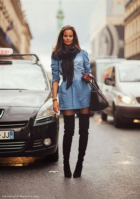 jean dress with boots thigh high boots chic obsession