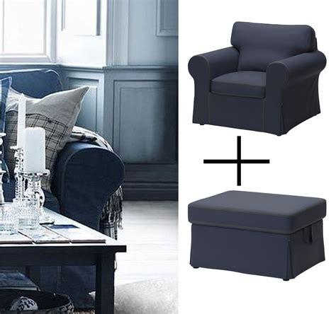 blue denim chair and ottoman ikea ektorp armchair footstool covers chair ottoman