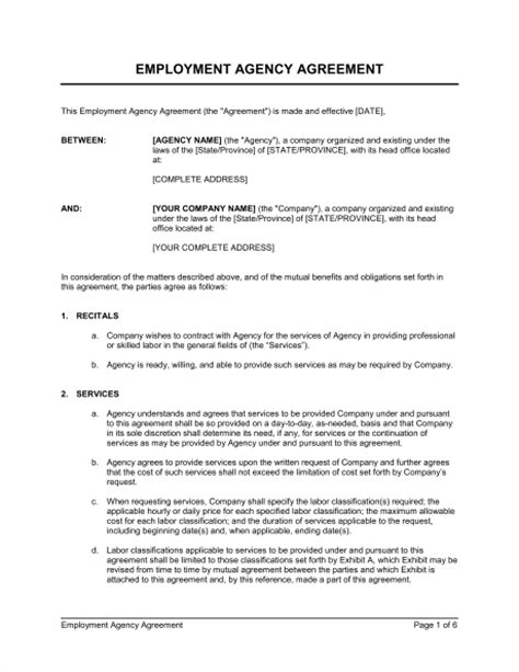 Agreement Letter For Manpower Supply Employment Agency Agreement Template Sle Form Biztree