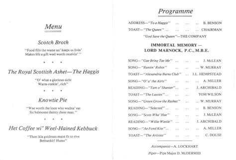 burns supper menu template burns supper at alexandria s robert burns club
