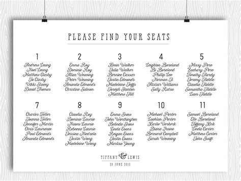 dinner seating plan template printable seating chart modern minimalist calligraphy plan