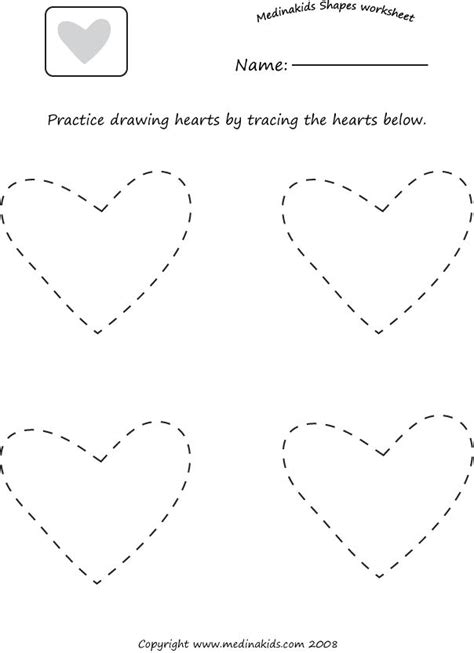 tracing hearts shape worksheet homeschooling