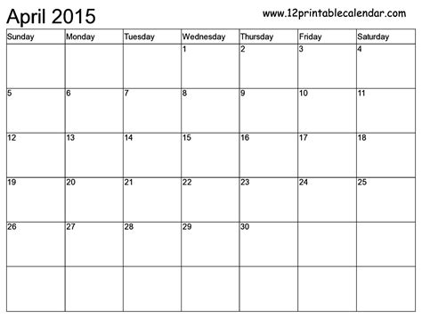 Printable 2015 Monthly Calendar Template by Monthly Calendar 2015 Printable Free Blank Page 2
