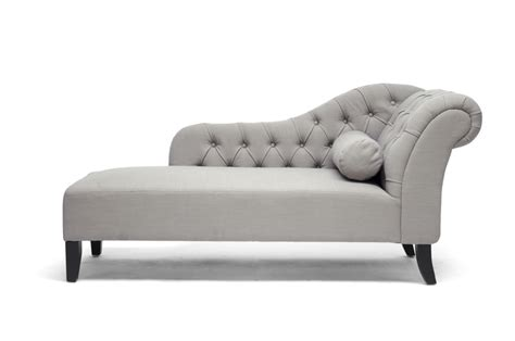 chaise long baxton studio aphrodite tufted putty gray linen modern