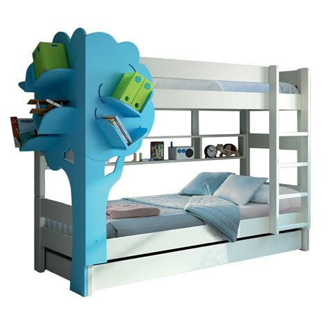 Blue Bunk Beds Bunk Bed With Tree Bookcase In White Blue Cuckooland