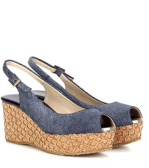 denim wedge sandals jimmy choo praise denim wedge sandals in blue lyst