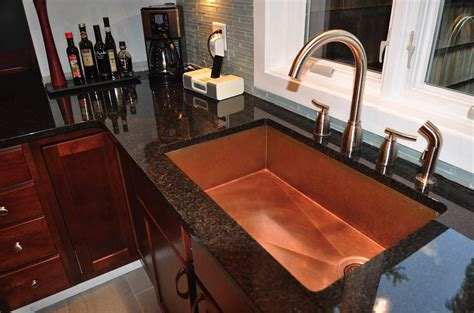 kitchen with copper sink copper sinks mount and trough copper kitchen sinks