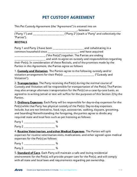 child custody agreement template pet custody agreement