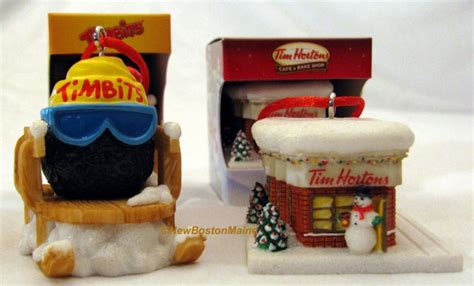 x2 tim hortons coffee christmas tree ornaments timbits