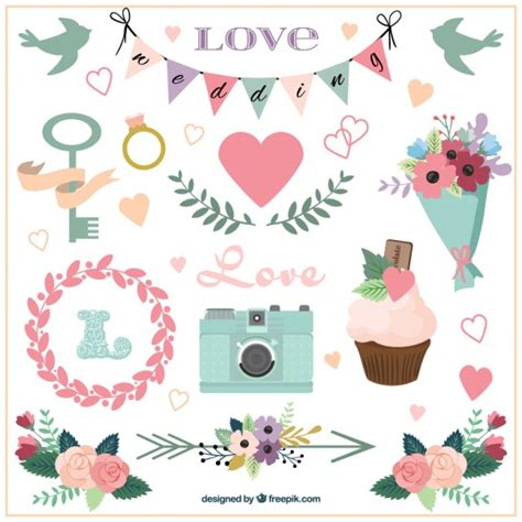 clipart matrimonio gratis accesorios de boda y ornamentos dibujados a mano