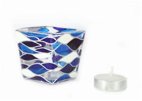 cobalt blue tea light candle holders hand painted glass candle holder tea light mini candle