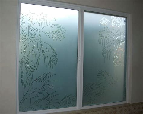 design glass date palm pncls glass window etched glass western decor