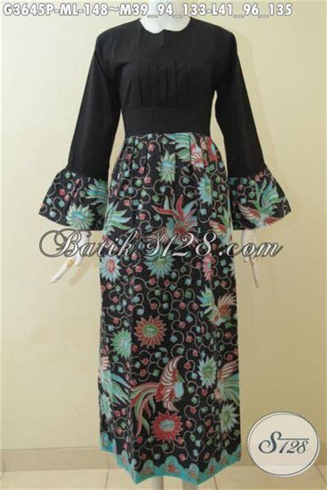 desain baju batik hitam gamis batik hitam elegan desain terbaru yang terlihat