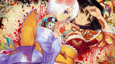 anime girl tattoo wallpaper two anime girls with white and black hair and tatoos and