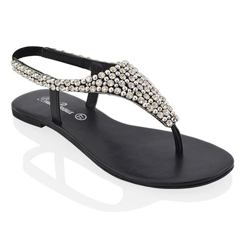 dressy black flat shoes flat toe post womens diamante pearl dressy