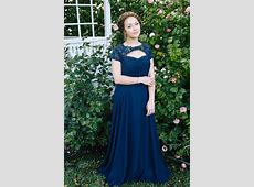 Hope Blue Modest Prom Dress with Sleeves Gold Hematite Beads