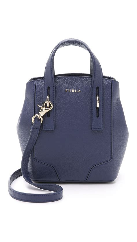Mini Furla furla perla mini cross tote aubergine in blue navy lyst