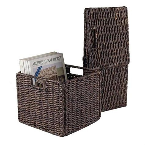 Corn Shuck Mattress by Granville Small Foldable Corn Husk Basket In Chocolate