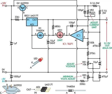 transistor lm317 fully adjustable power supply circuit diagram