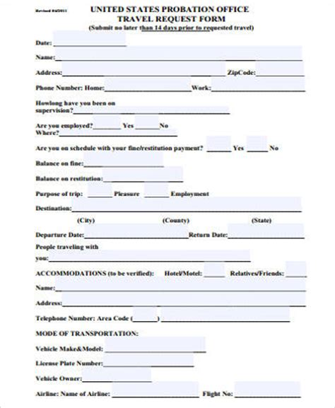 travel request form template sle travel request form 10 exles in word pdf