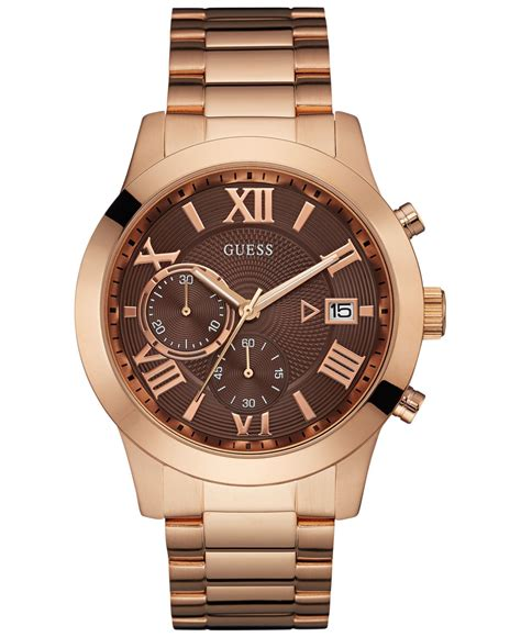 Guess Gs0277 Pink Rosegold guess s chronograph gold tone stainless steel bracelet 44mm u0668g1 in pink lyst