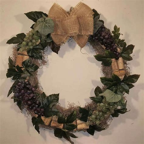 grapevine wreath with wine corks and burlap bow available now for purchase wreaths for sale