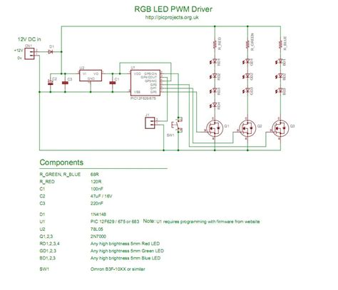 rgb led circuit diagram rgb led controller