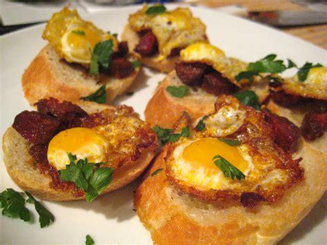 tapas night quail eggs and chorizo seasoned to taste