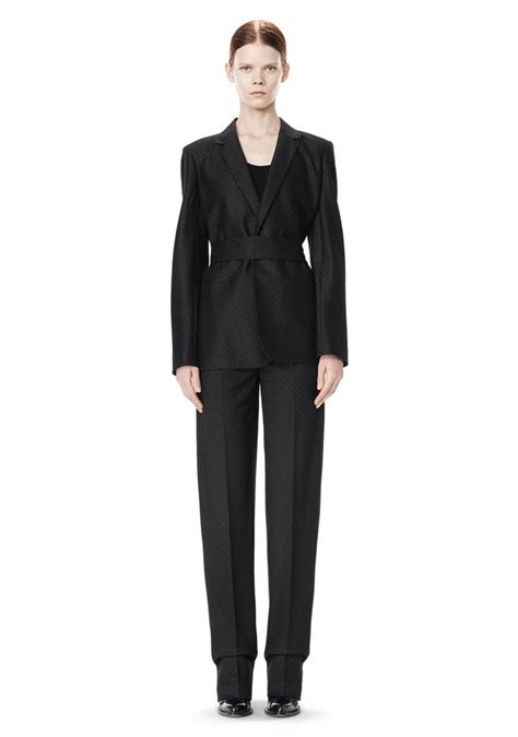 Belt Blazer wang pinstripe robe blazer with belt jackets