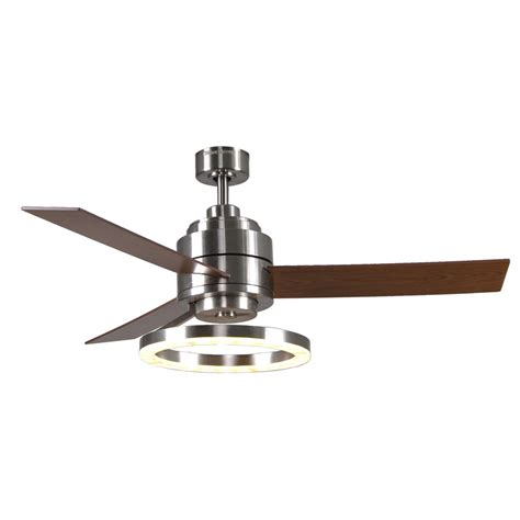 Led Light For Ceiling Fan Shop Harbor Pier 39 52 In Brushed Nickel Downrod Mount Ceiling Fan With Led Light Kit And