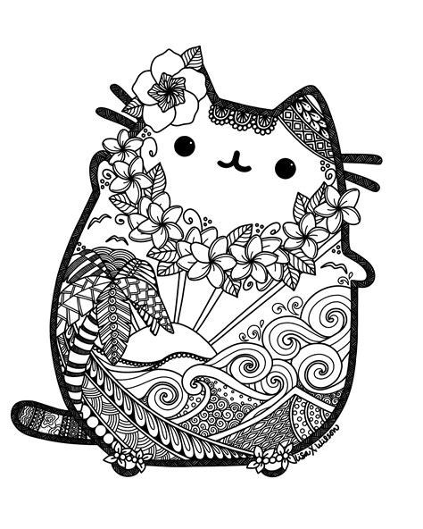 mandala coloring pages cat hawaiian pusheen fan pusheen pusheen