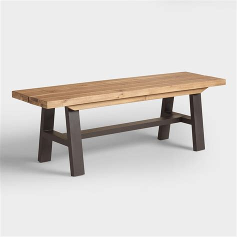 wood bench dining wood and metal coronado a frame dining bench world market