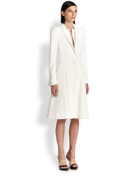 Dress Coat mcqueen crepe coat dress in white lyst