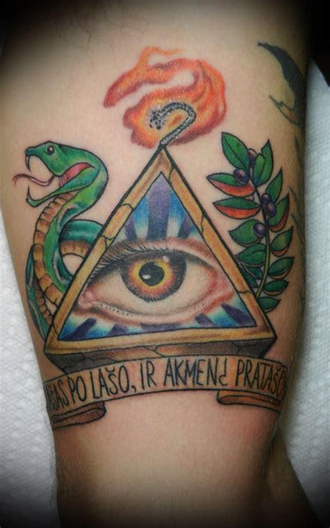 color snake  illuminati eye tattoo   sleeve