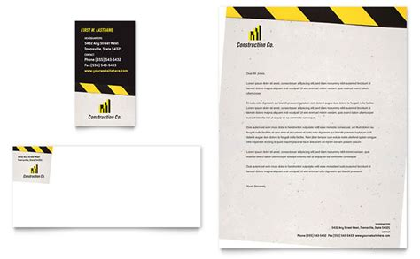 construction letterhead templates industrial commercial construction business card