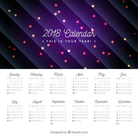 Calendar 2018 With Lines 2018 Calendar With Lights And Lines Vector Free