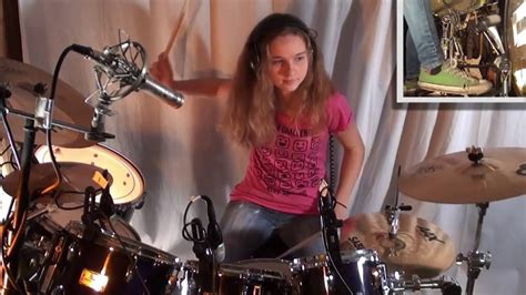 hot chick playing drums jump van halen drum cover by a 14 year old girl youtube