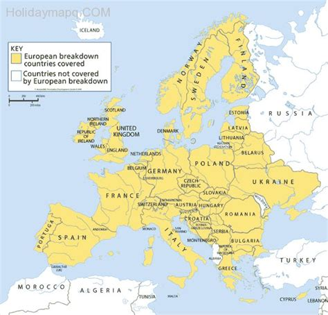 map uk only map of europe countries only holidaymapq