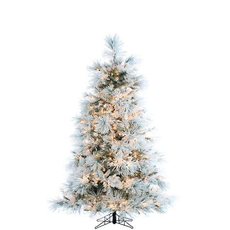 wyoming snow flocked 75 green pine artificial christmas tree 7 5 ft flocked snowy pine tree with multi color led string lighting ffsn075 6snez