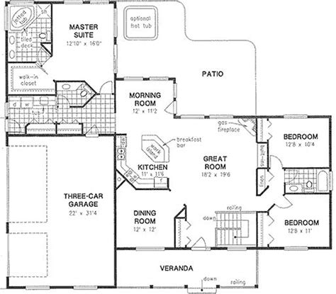 square feet of 3 car garage house plan 58545 ranch plan with 2022 sq ft 3