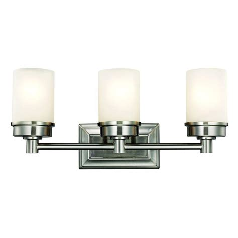 Nickel Bathroom Lights Hton Bay Transitional 3 Light Brushed Nickel Vanity Light 1001220862 The Home Depot