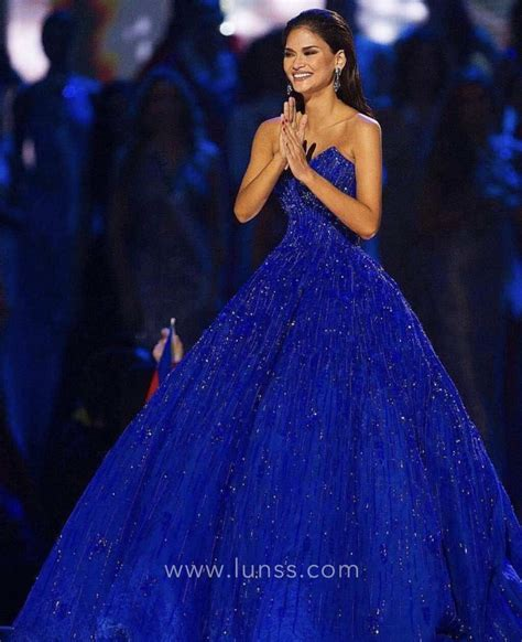Gown Blue beaded royal blue strapless v neckline pageant gown