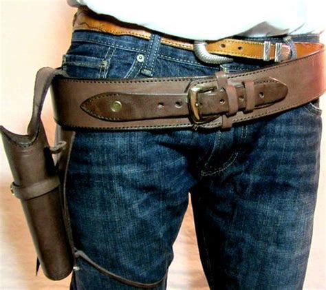 cowboy western fast draw leather tooled holster gun belt