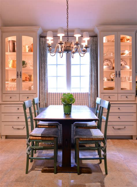 kitchen display cabinets Dining Room Farmhouse with bench built in storage cabinets