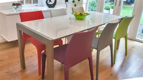White Dining Table And Coloured Chairs by Modern White Gloss Extending Dining Table And Bright Coloured Chairs Seats 8